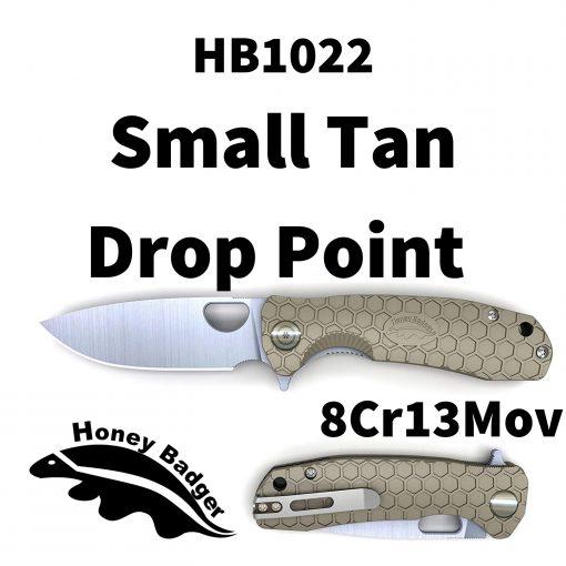 HB1022 Honey Badger Drop Point Flipper Small Tan 8Cr13MoV