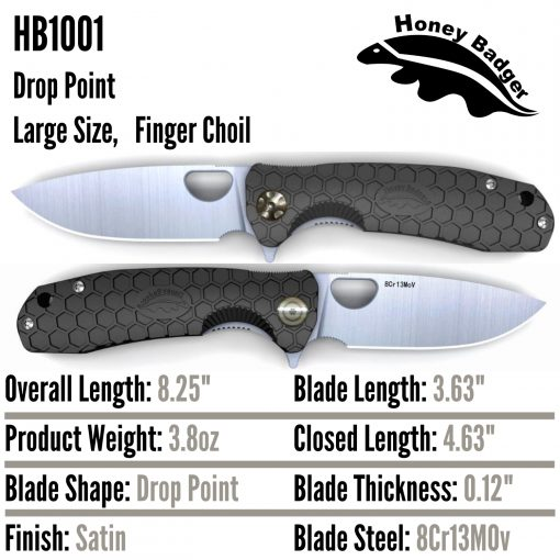 HB1001 Honey Badger Drop Point Flipper Large Black 8Cr13MoV