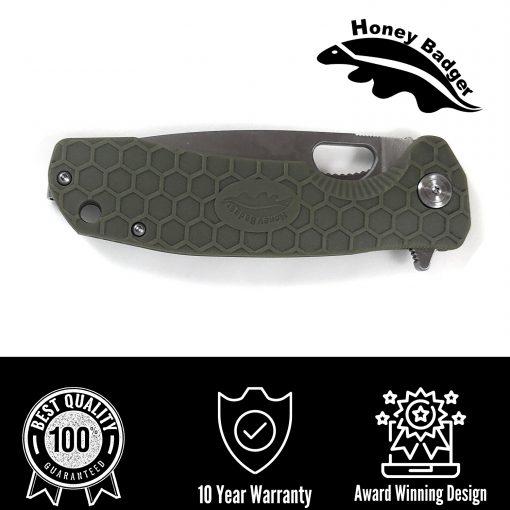 HB1023 Honey Badger Drop Point Flipper Small Green 8Cr13MoV