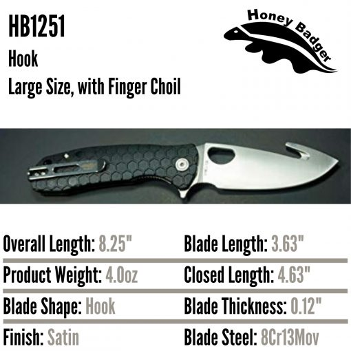 HB1251 Honey Badger Hook Flipper Large Black 8Cr13MoV