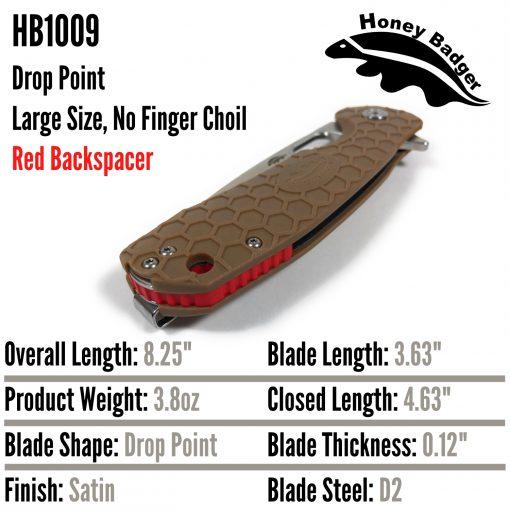 HB1009 Honey Badger D2 Drop Point Flipper Large Tan