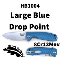 HB1004 Honey Badger Flipper Large Blue 8Cr13Mov