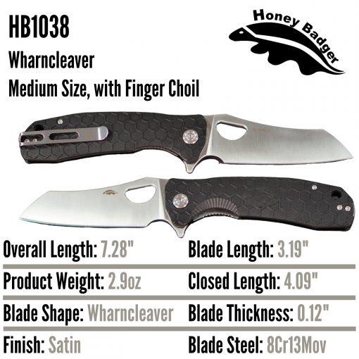 HB1038 Honey Badger Flipper Wharncleaver Medium Black 8Cr13Mov