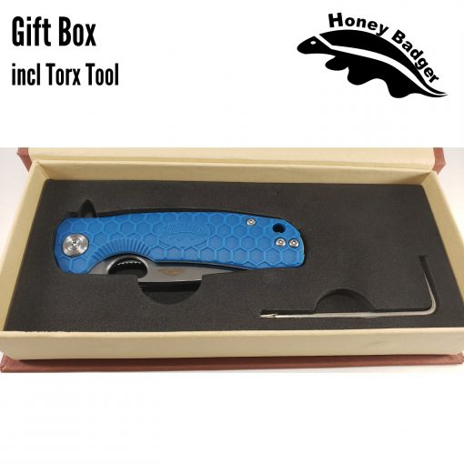 HB1017 Honey Badger Flipper Medium Blue 8Cr13Mov