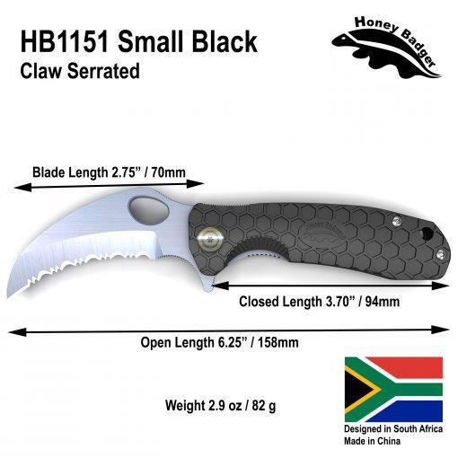 HB1151 Honey Badger Claw Flipper Small Black Serrated 8Cr13Mov