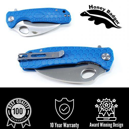 HB1149 Honey Badger Claw Smooth Flipper Medium 8Cr13Mov Blue