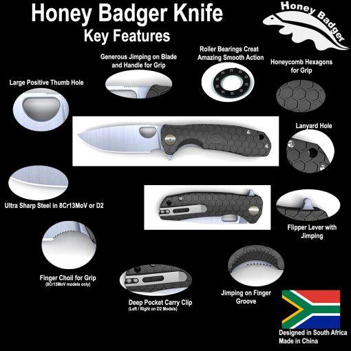 HB1133 Honey Badger Claw Serrated Flipper Medium 8Cr13Mov Green