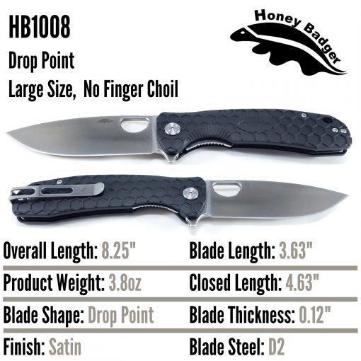 HB1008 Honey Badger D2 Flipper Large Black No Choil