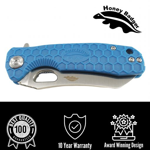 HB1034 Honey Badger Flipper Wharncleaver Large Blue 8Cr13Mov Steel by Western Active
