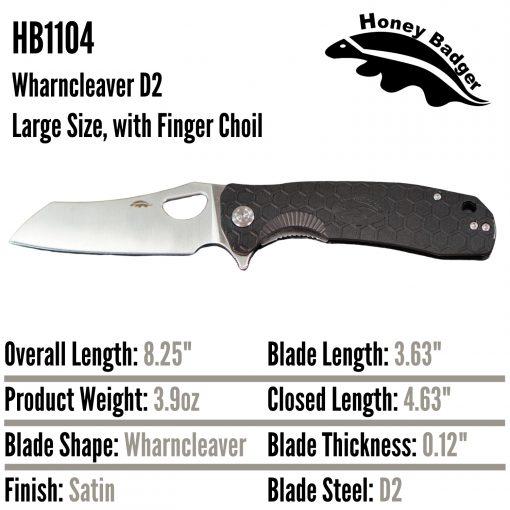 HB1104 Honey Badger Flipper Wharncleaver Large Black with Choil D2