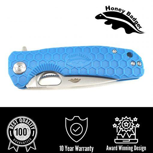 HB1058 Honey Badger Flipper Drop Point Medium Blue No Choil D2