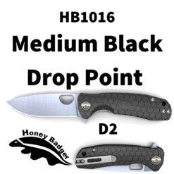 HB1016 Honey Badger D2 Flipper Medium Black No Choil